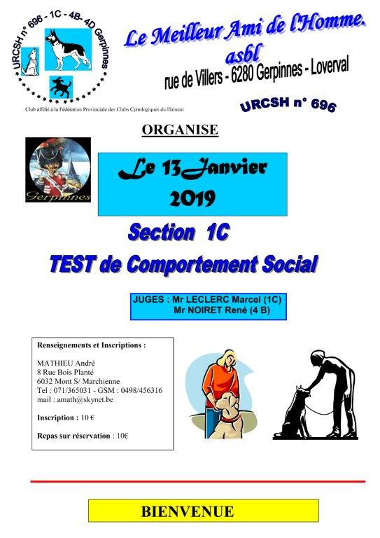 Test de comportement Social 13/01/2019 @ Club Canin Gerpinnes